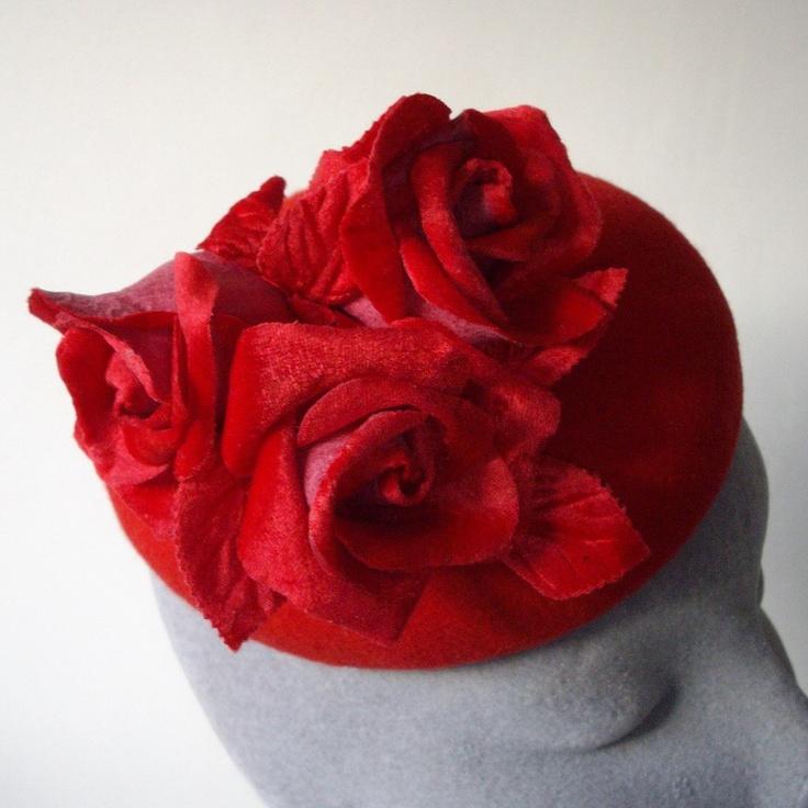 Red Handblocked Felt Beret Hat with Red Velvet Roses. £90.00, via Etsy.