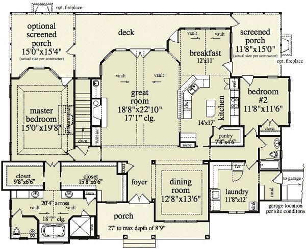 Plan 29826rl mountain home plan with garage and bonus for House plans with fireplace