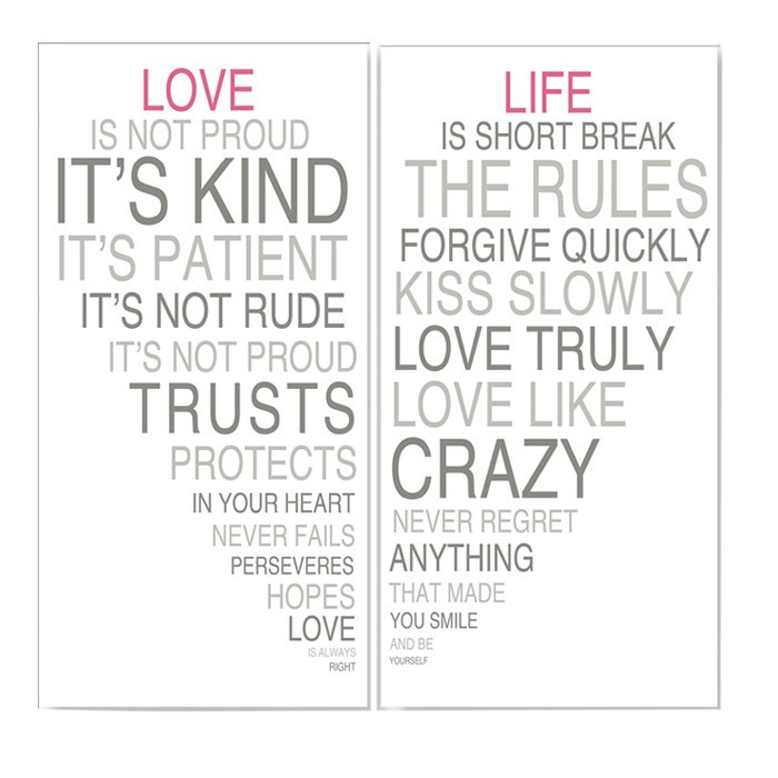 2 Piece Love & Life Wall Art Set II
