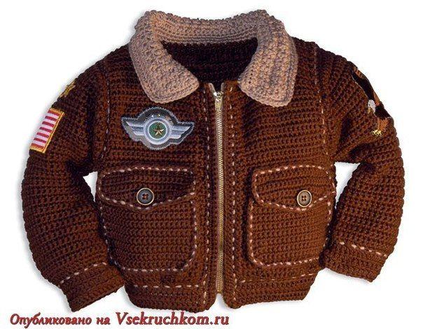Стильная курточка «Пилот» для мальчика вязаная крючком. / Вязание крючком / Детская одежда крючком. Схемы