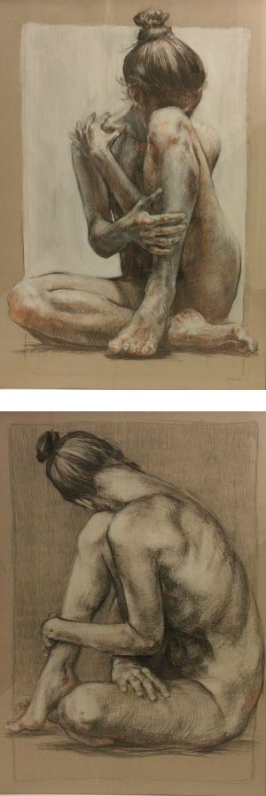 Look at some of my female nude drawings. I used charcoal, ink, acrylic paint, and cardboard. Those charcoals have been made in 2015.