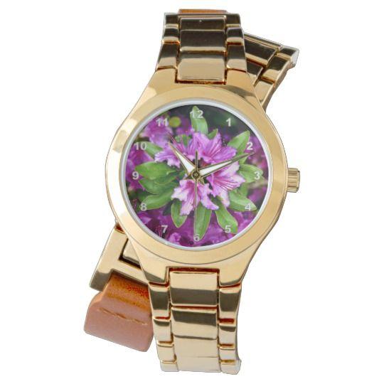 Azelia Gold Wrap-Around Wrist Watch by www.zazzle.com/htgraphicdesigner* #zazzle #gift #giftidea #wrist #watch #wristwatch #woman #azelia #flower #flowers #nature