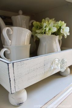 A plain tray is updated to look like a repurposed drawer!
