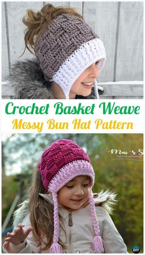 Crochet Basket Weave Messy Bun Hat Pattern - #Crochet Ponytail Messy Bun Hat Free Patterns & Instructions