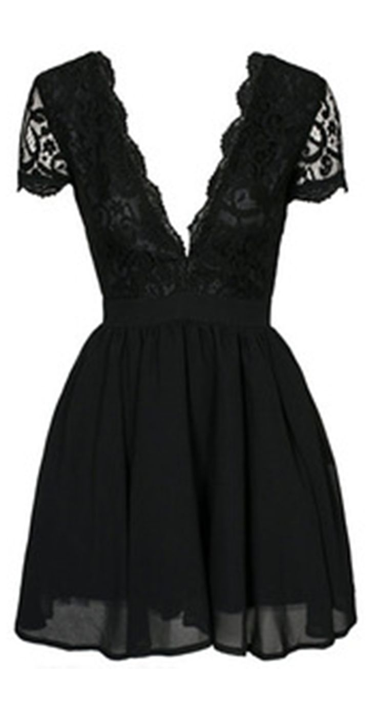 Lace Dress has been a classic sign within a long history. This Deep V Neck Lace Pleated Dress is so beautiful and sexy chic, just what I'm dreaming for!