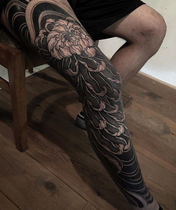 9975ee8dfa919 Chrysanthemum Full Leg Tattoo - 45 Beautiful Chrysanthemum Tattoo Ideas
