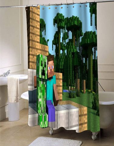 creeper steve minecraft hd wallpaper shower curtain customized design for home decor