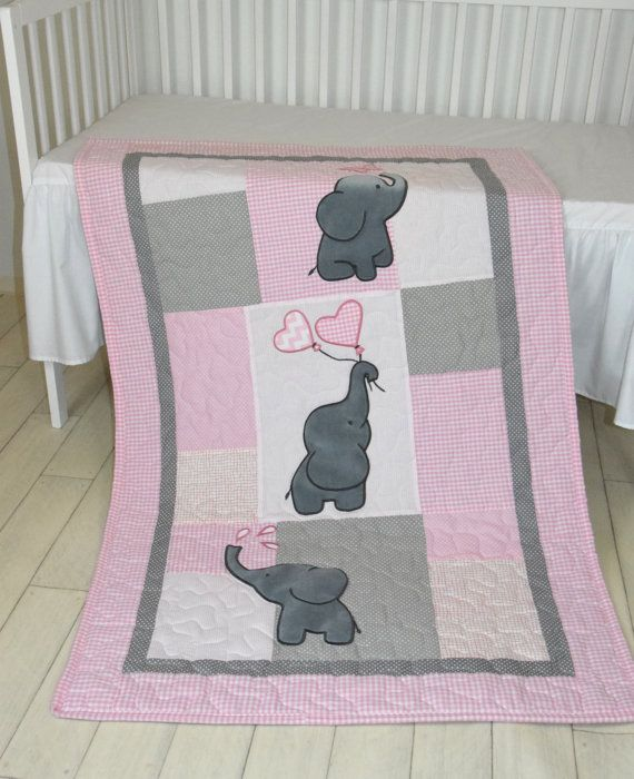 Baby Quilt, Elephant Blanket, Pink Gray Crib Bedding, Safari Nursery The cute elephant baby blankets nice for boys too, with different colours of course. I used the timeless chevron pattern, and made the applications with patchwork technique. Can be made any size and colour, or with different applications. On this custom made quilt set each applique is hand stitched. The entirely handcrafted baby quilt bedding is quilted with batting. The measurements of this blanket are available for…