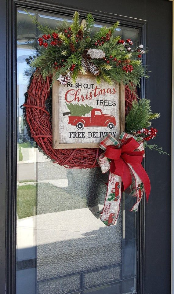 Rustic Red Truck Wreath With Bow Wintery Greenery Favorite