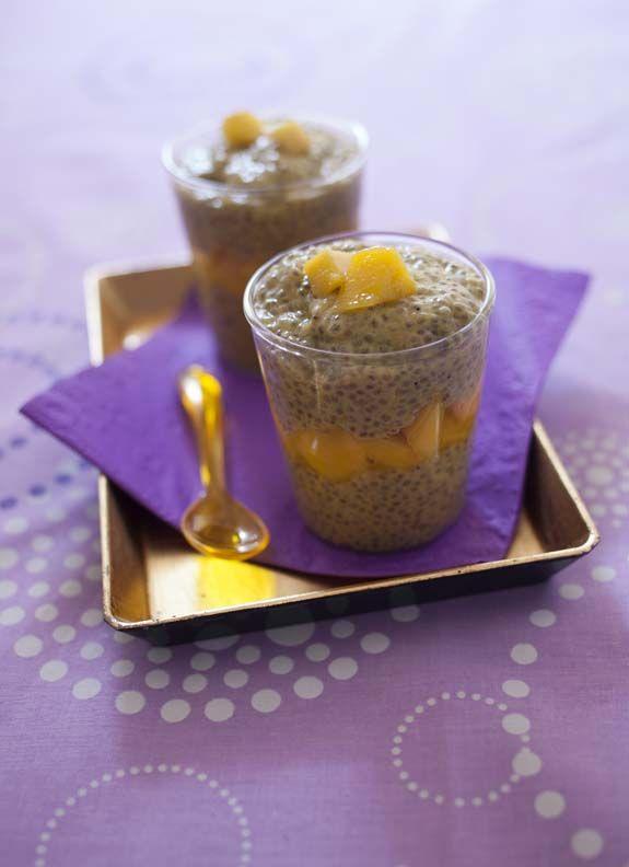 Pudding aux graines de chia, lait de coco et mangue