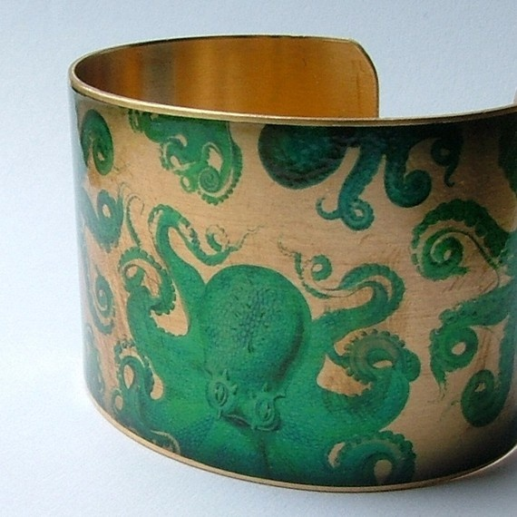 Octopus Jewelry Brass Cuff Bracelet with Mythical by JezebelCharms, $40.00