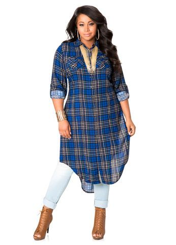Three-Quarter Sleeve Plaid Duster Ashley Stewart