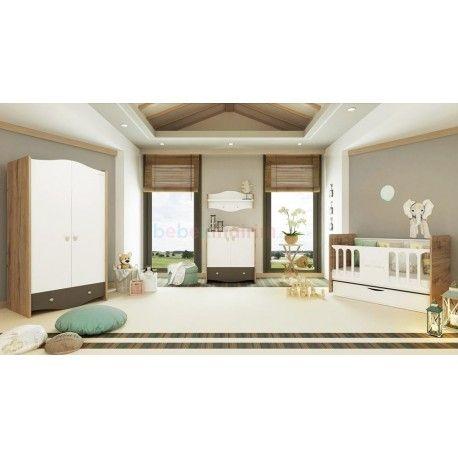 Pierre Cardin Opale Natural Mini Bebek Odası.  2 kapaklı gardırop.  70x130 beşik.  Şifonyer + Duvar rafı.
