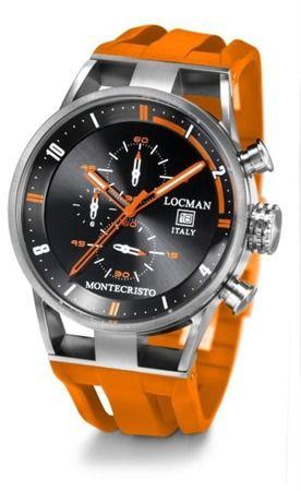 Zegarek Męski Locman Montecristo Chronograph to sportowy zegarek wykonany z jednego najwytrzymalszych materiałów - tytanu.   Posiada dużą czytelną kopertę, wyróżniający się pomarańczowymi wskazówkami oraz pomarańczowym paskiem, kolor paska nigdy nie pozostaje obojętny!   Całość tworzy niepowtarzalne połączenie sportu i wyjątkowego stylu.   Zegarek dodatkowo wyposażony jest w datownik i chronograf.  Wodoszczelność: 100 metrów