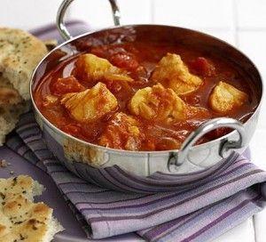 Kabeljauw in stevige rode curry