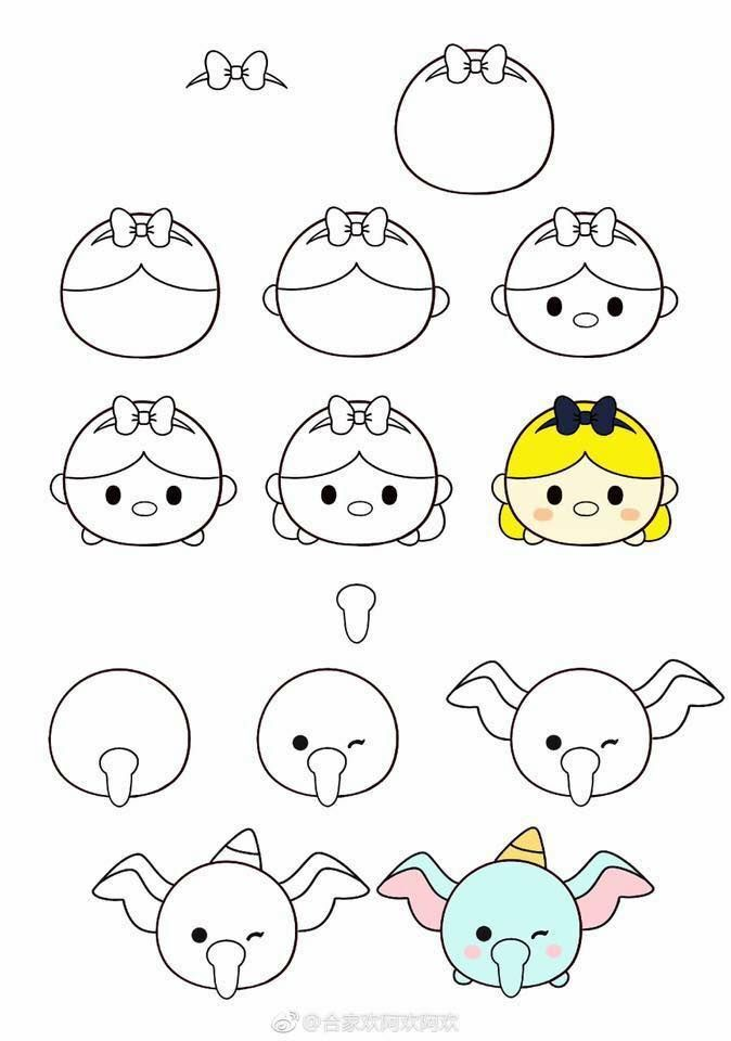 How To Draw Tsum Tsum Dibujos Garabateados Dibujos Sencillos