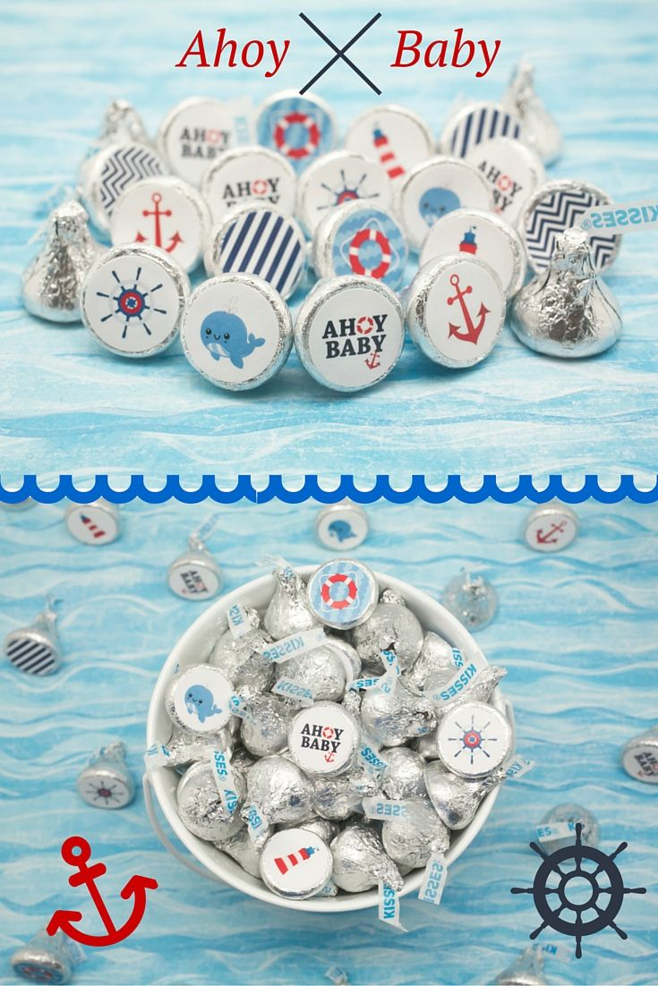 Nautical Baby Shower stickers are the perfect Ahoy baby shower decorations to put on hershey kisses for a simple and easy baby shower favor or table decoration!