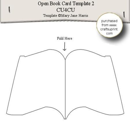Open Book Card Template 2 on Craftsuprint designed by Mary Jane Harris - This is a shaped card template. Let your imagination run wild and use it to make cards to sell, or to give to all the special people in your life. You can make pyramid layers for the front, or do a decoupage/layer design
