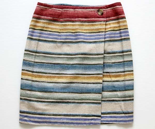 画像1: USA製JESSICA STEVENS ラグ柄 リネン混 巻きスカート 7