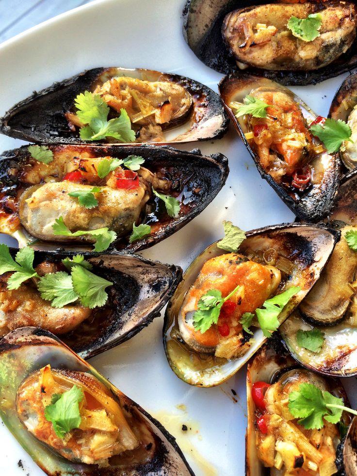 Grillade gröna musslor