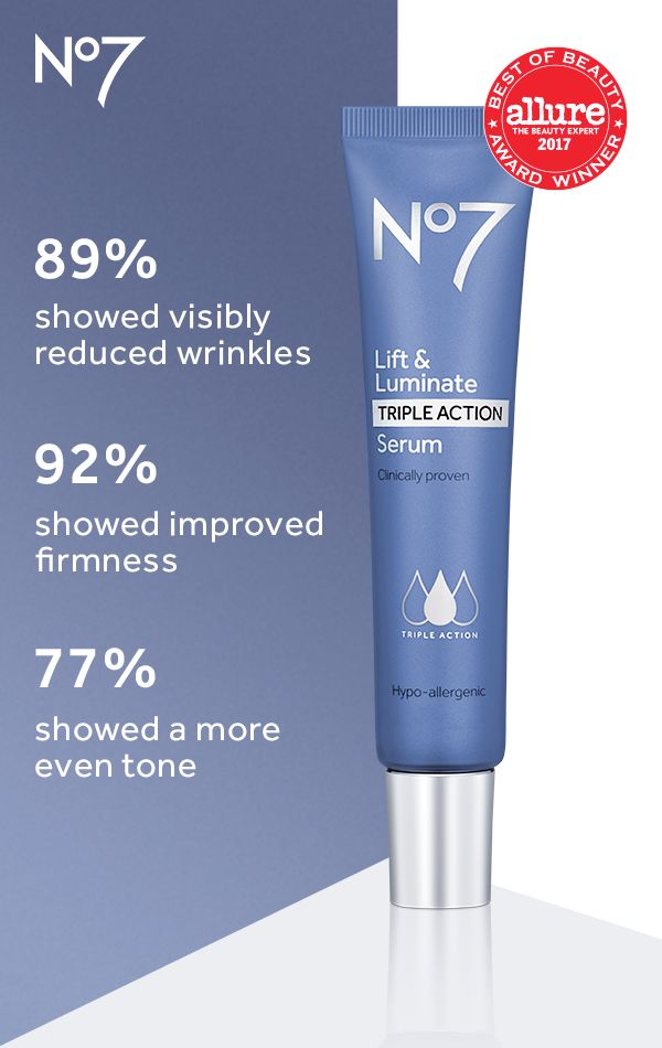 The groundbreaking Lift & Luminate TRIPLE ACTION Serum delivers three clinically proven results.