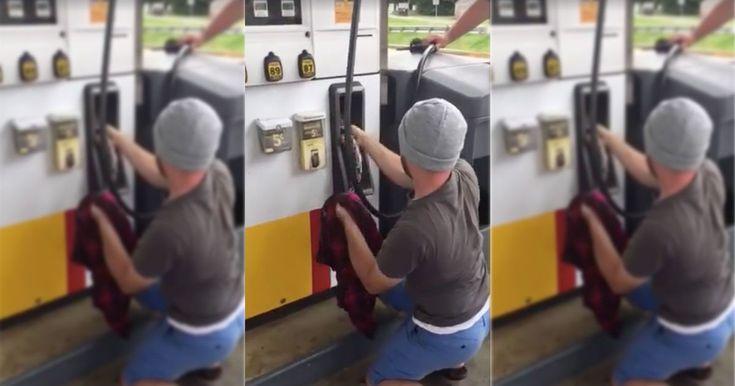 Couple discovers a snake hiding inside a gas pump