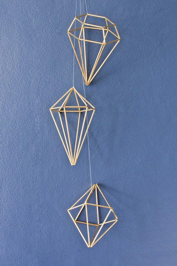 DIY himmeli diamond tutorial - 3 shapes!
