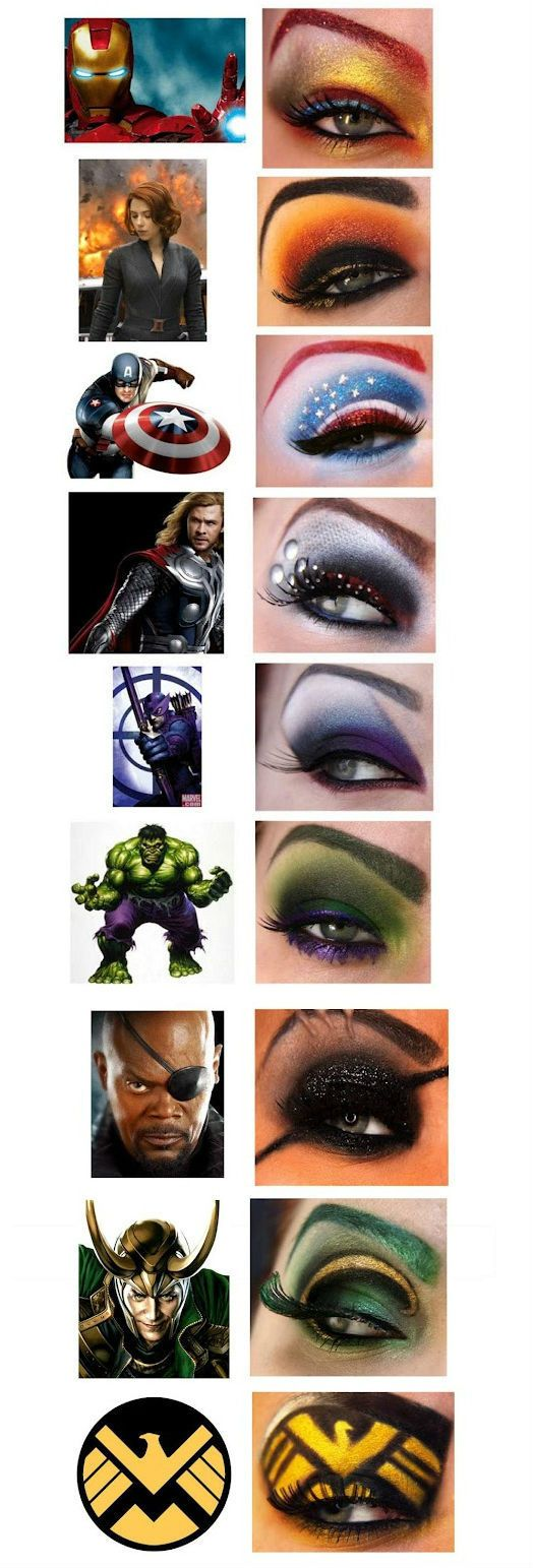 The Avengers makeup styles. I dont think id ever do this but it sure is cool!