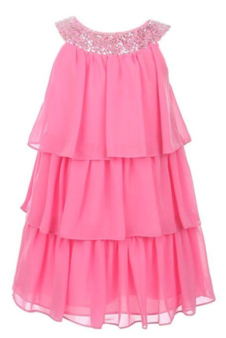Sweet Kids Girls Triple Tiered Chiffon Flirty Party Flower Girl Dress (Off White)