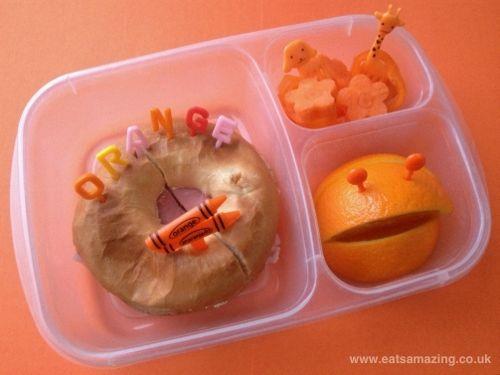 Orange themed lunch box via Eats Amazing