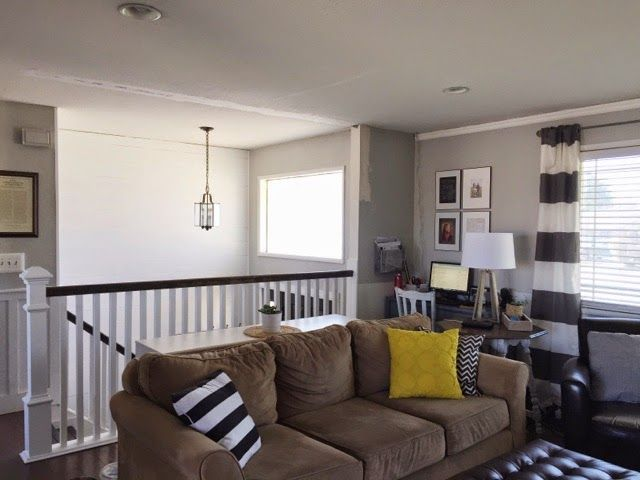 Keep Home Simple  Our Split Level Fixer Upper   space between rail and sofa. 17  best ideas about Split Level Decorating on Pinterest   Raised