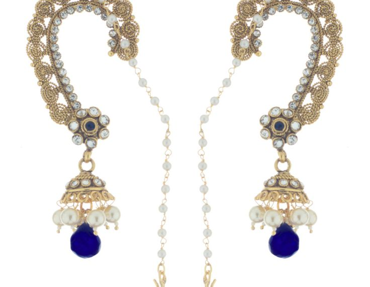 A charming pair of #Polki #jhumkas with royal blue accent dropping and pins to the hair. Exclusive design from Bejeweled.