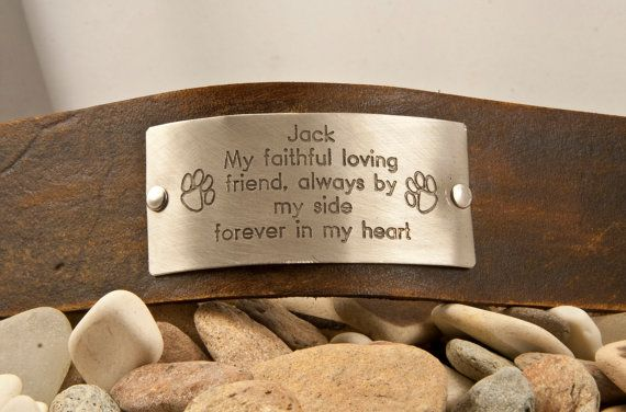 Paw memorial pet remembrance , forever by my side, custom leather bracelet