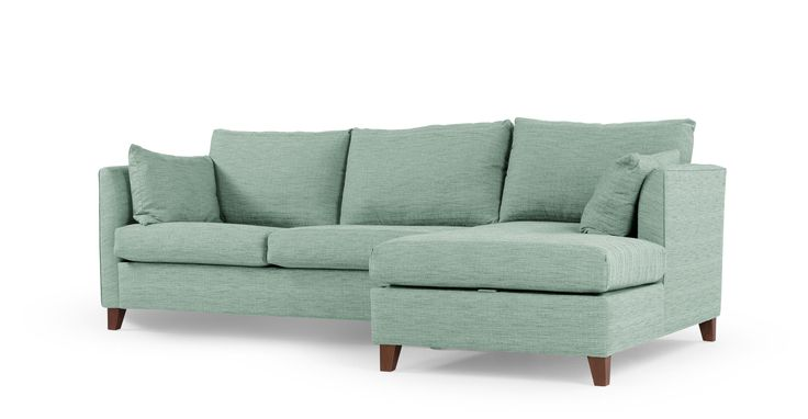 Bari Right Hand Facing Corner Storage Sofa Bed, Malva Aqua