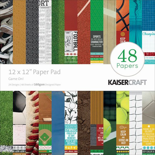 """Kaisercraft Paper Pad 12""""x12"""" - Game On! - Click to enlarge"""