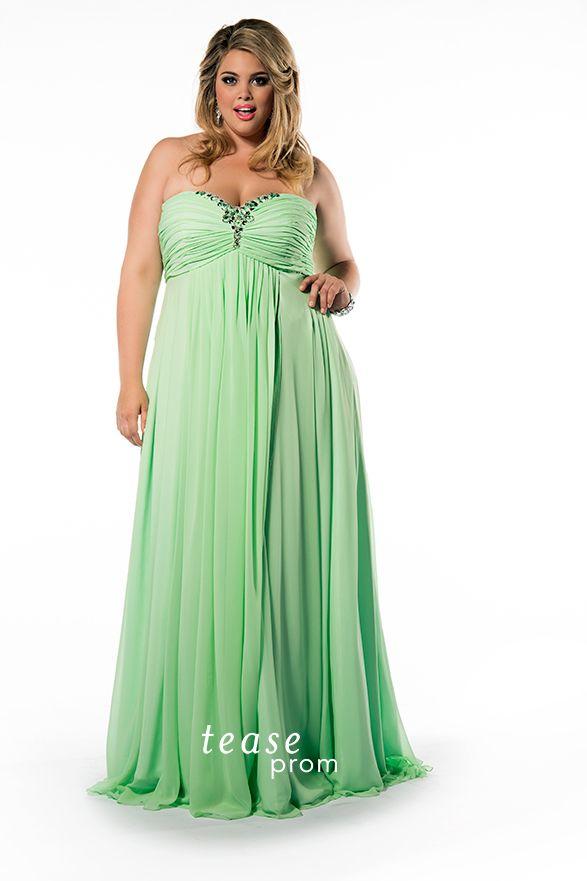 Pretty pastels are so in for #Prom2015! You'll be the trendsetter in this flowing spring green dress. Featuring an empire waist and stunning beaded bodice TE1504 is sold at fine stores nationwide that carry Tease Prom dresses.