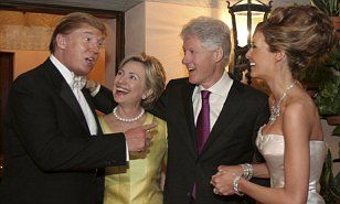 Hillary Clinton and Donald Trump embrace at his 2005 wedding to Melania | Daily Mail Online