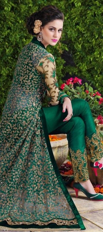 Cape style Net embroidered salwar suit by IWS 452060 Green color family Party Wear Salwar Kameez in Net fabric with Lace, Machine Embroidery, Stone, Thread, Zari work .