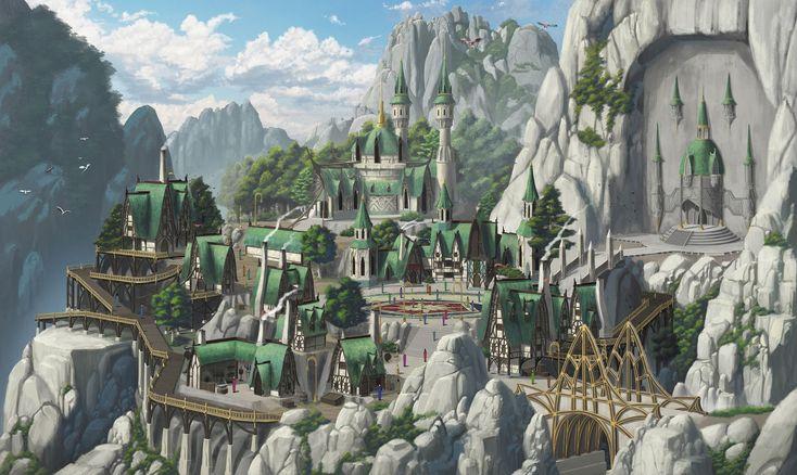 elf village artstation fantasy choi