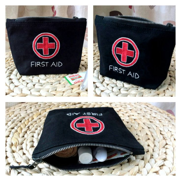 Hand Embroidered handy first aid pouch bag!! #handembroidery #firstaidbag #medicinepouch #emergencykit #travelaccessories