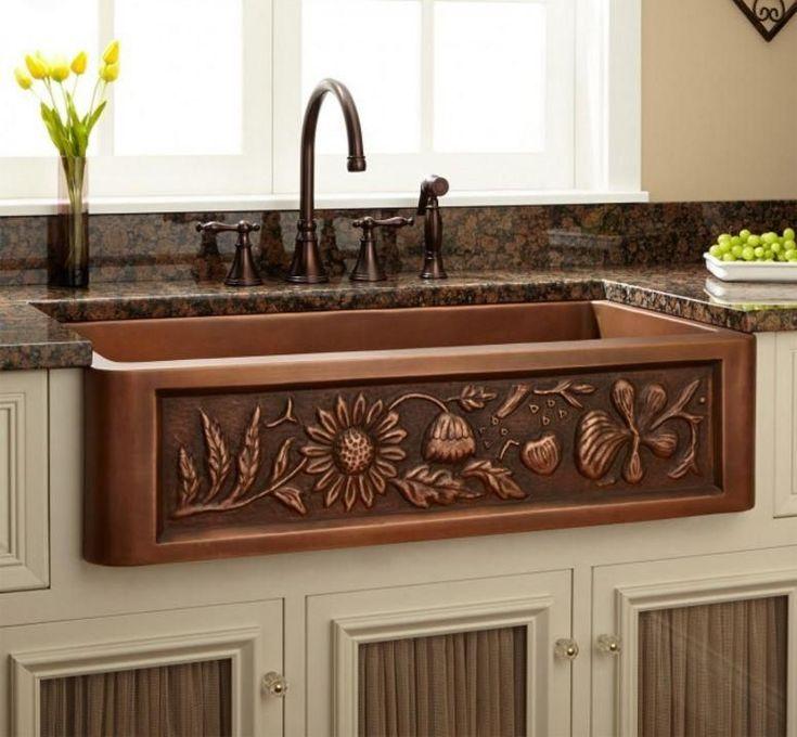 "33"" Floral Design Copper Farmhouse Kitchen Sink Single Bowl #Farmhousesinks"