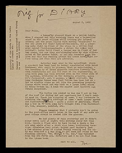 Citation: 'Dear Folks, A horsefly gleamed on a yellow dahlia when I stepped out this morning;', 1953 Aug. 3 . Joseph Cornell papers, Archives of American Art, Smithsonian Institution.