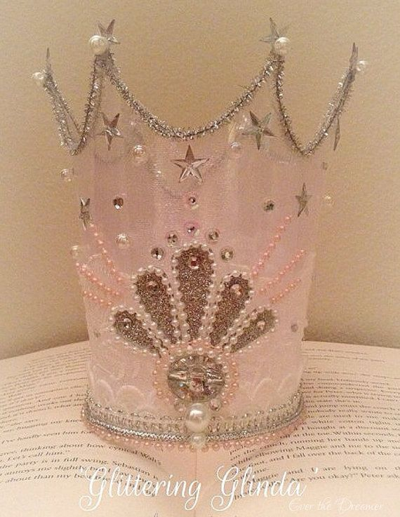 Glittering Glinda crown handmade wizard of oz princess party fairy crown glinda fairy crown pink glitter birhday photography prop costume