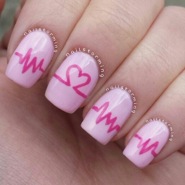 Pink, heart nails. Valentine's Day Nail Art. Nail Design. Polishes. Polish. Polished.  by nailstorming