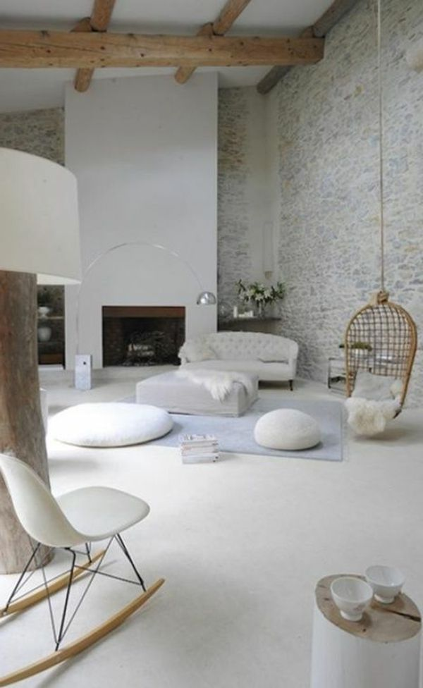 Salle de séjour avec des pierres de parement intérieur blanche