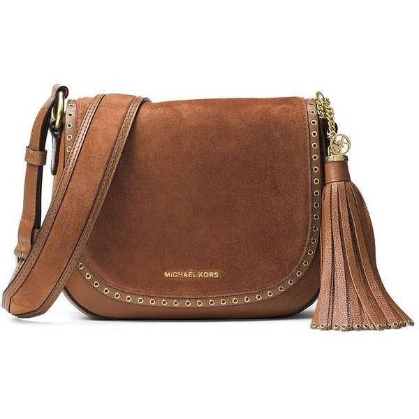 MICHAEL MICHAEL KORS Brooklyn Medium Grommeted Suede Saddle Bag ($370) ❤ liked on Polyvore featuring bags, handbags, shoulder bags, apparel & accessories, luggage, brown purse, brown saddle bag purse, michael michael kors, boho handbags and suede purse