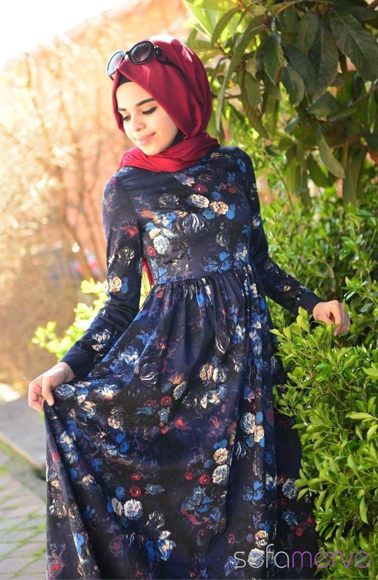 MAS Tesettür Elbise 1369-01 Lacivert