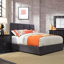 Ooh la la -- an upholstered bed is so luxurious. This Broyhill bed is one of four styles. You can see the 'wingback' in person in our Idaho Falls store -- it is done up in classic houndstooth. The fabric options are limitless. The best Part? You can have a custom upholstered bed in 8 weeks!