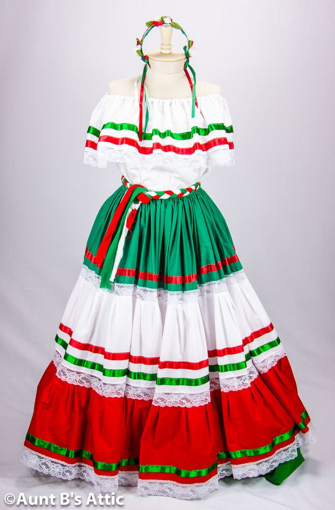 Peasant Dress Authentic Mexican Redwhitegreen Adelita
