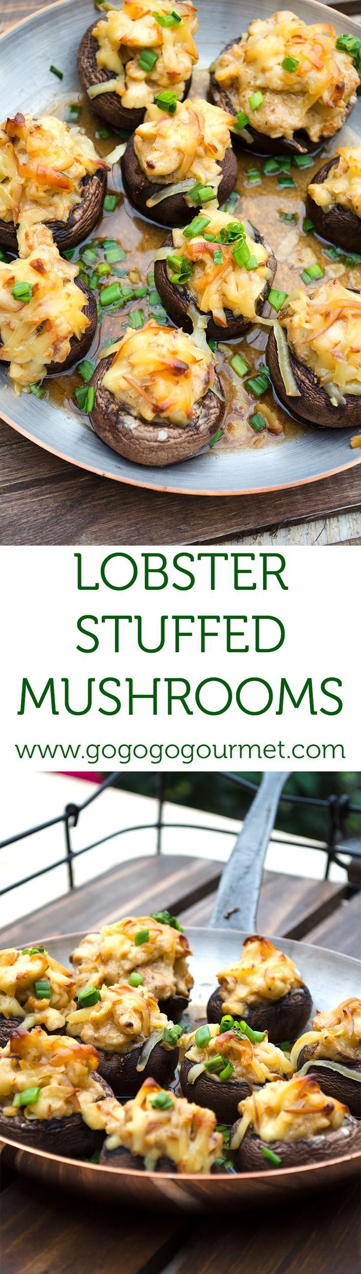 These stuffed mushrooms get an added touch of decadence and elegance from chunks of buttery lobster and smoked gouda. | Go Go Go Gourmet /gogogogourmet/